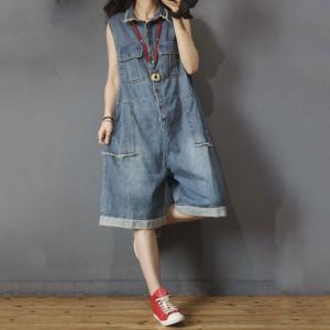 Sleeveless Denim Rompers Lapel Fringed Button-Down Rompers