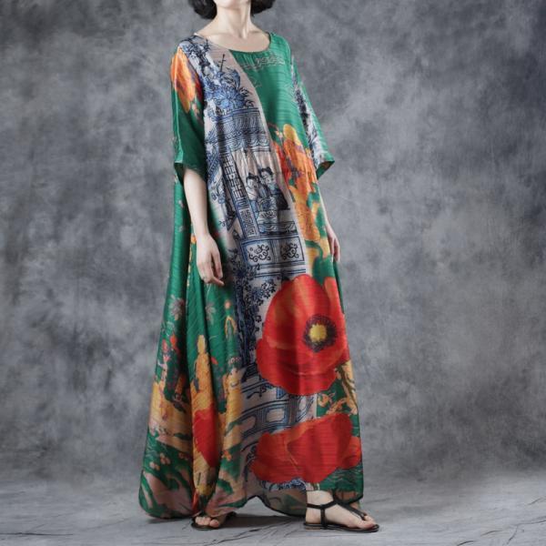 Red Flowers Green Kimono Dress Plus Size Silk Wrap Dress