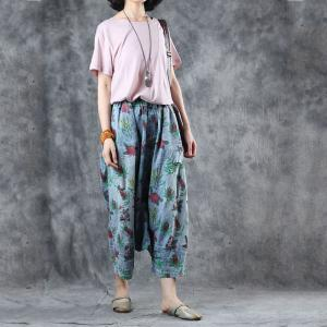 Summer Style Rose Cropped Jeans Denim Harem Pants for Woman