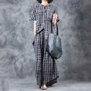 Black Grids Loose Asymmetrical Blouse with Wide Leg Pants for Woman