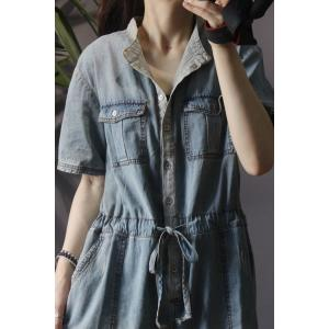 Shirt Collar Drawstring Rompers Wide Leg Denim One Piece Trousers