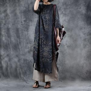 Over40 Style Heart Pattern Long Shirt Slits Black Long Outerwear