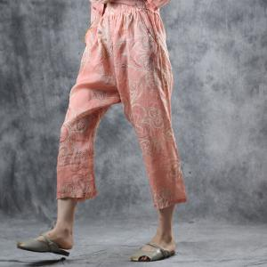 Organic Ramie Comfy Printed Blouse with Casual Harem Pants