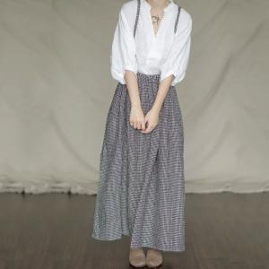 French Style Small Plaids Slip Dress Linen Gingham Mom Skirt Overalls