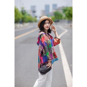 Beautiful Color Blocks Hooded Blouse Asymmetrical Smock Shirt