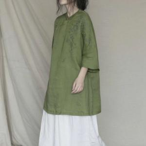 Chinese Embroidered Blouse Linen Vintage Ladies Shirt