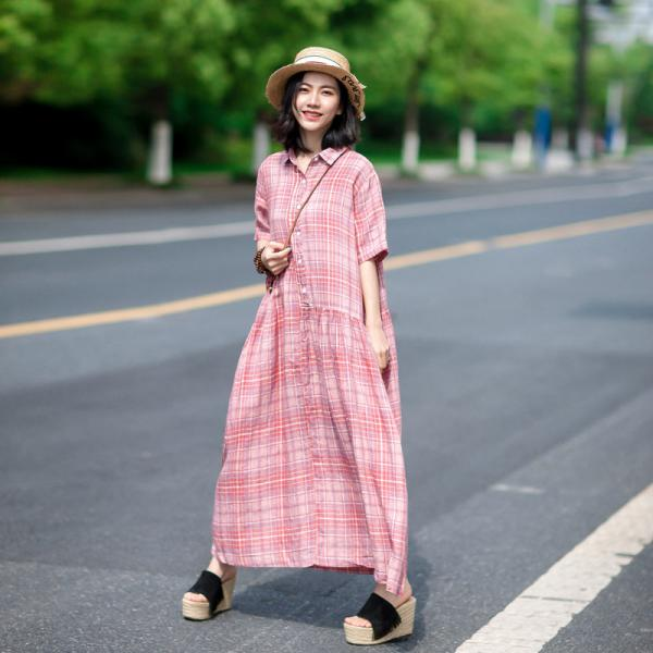 Pink Gingham Linen Shirt Dress Loose Pink Resort Frock