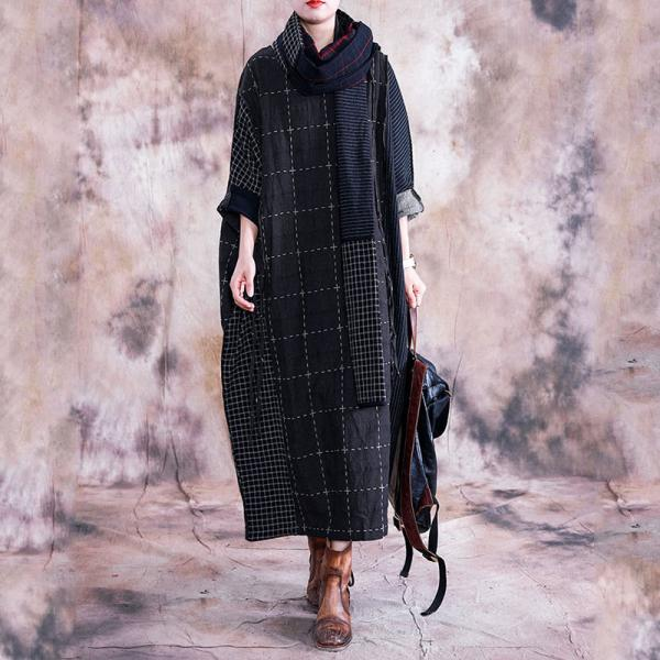 Black Checks Plus Size Caftan Long Sleeve Linen Frock for Woman