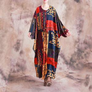 Beautiful Folk Paisley Dress Loose Cotton Linen Colorful Wrap Dress