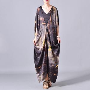 V-Neck Bat Sleeve Plus Size Dress Printed Silk Kimono Dress