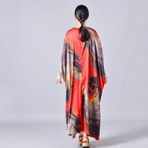 V-Neck Bat Sleeve Plus Size Dress Printed Silk Kimono Dress