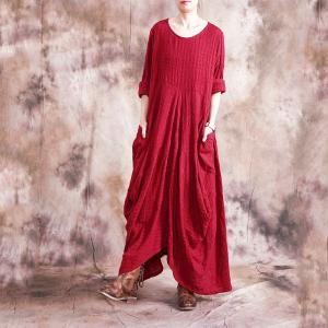 Comfy Style Asymmetrical Red Dress Beautiful Drapes Casual Maxi Dress