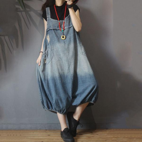 White Holes Large Jean Overalls Womans Korean Balloon Trousers