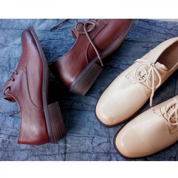 Lace Up Womans Saddle Shoes Handmade Calf Leather Flats