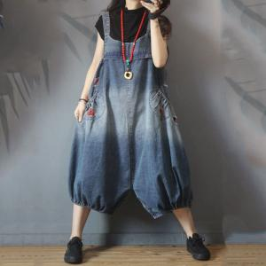 Plus Size Ripped Balloon Overalls Red Holes Maternity Clothing