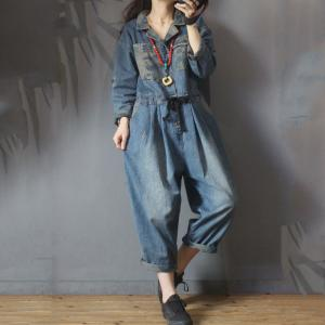 Camouflage Pockets Drawstring Jumpsuits Korean Large Jean Jumpsuits
