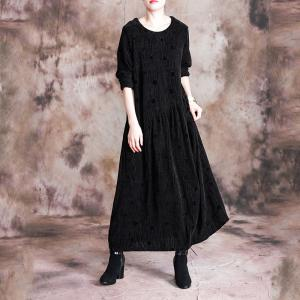 Solid Color Long Sleeve Winter Dress Loose Velvet Dress