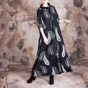Feathers Pattern Turtleneck Dress Chinese Vintage Dress