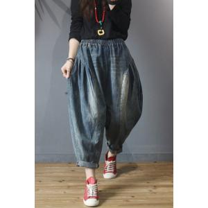Korean Style Womans Baggy Jeans Fluffy Mom Jeans