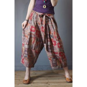 Fall Fashion Folk Wide Leg Pants Cotton Linen Red Trousers with A Belt