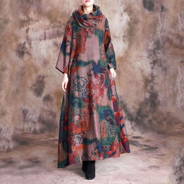 Senior Woman Red Printed Chinese Dress Cotton Linen Loose Dress with Scarf