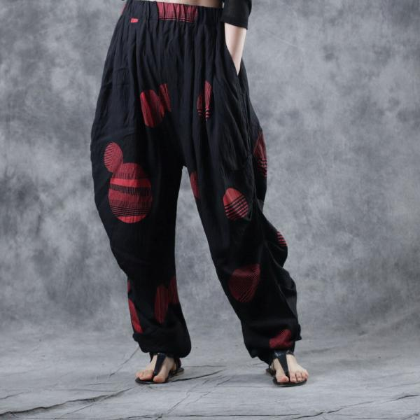 Red Polka Dots Harem Pants Cotton Blend Flowy Pants for Women