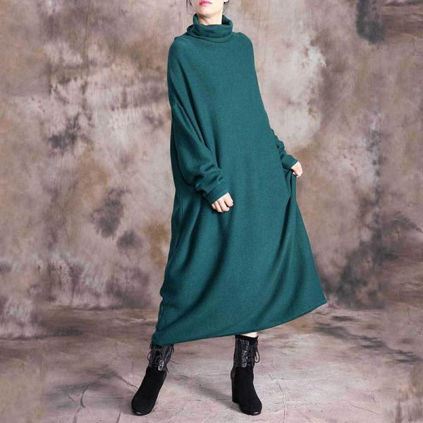 Blackish Green Turtle Neck Sweater Dress Plus Size Winter Dress