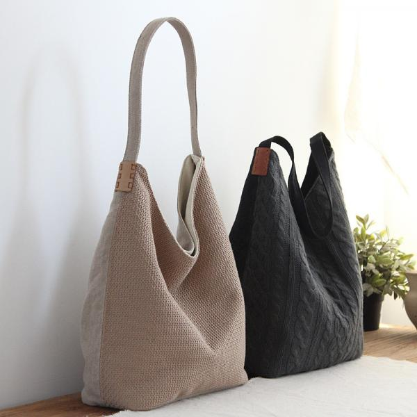 Different Fabric Patchwork Tote Bag Casual Flax Shoulder Bag for Woman