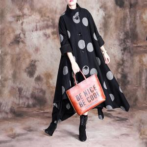Asymmetrical Polka Dot Coat Black Elegant Long Cape Coat