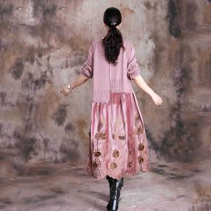Beautiful Knitted Crew Neck Dress Long Sleeve Embroidery Dress