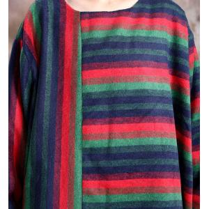 Colorful Striped Plus Size Wool Dress Flare Winter Dress for Senior Women