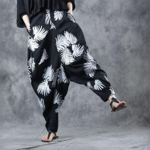 White Leaf Black Yoga Pants Cotton Comfy Genie Pants