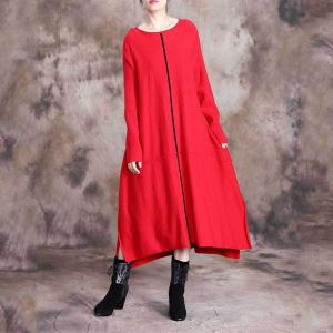 Casual Style Knitting Tent Dress Long Sleeve Comfy Asymmetrical Dress