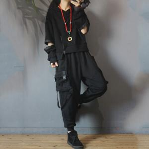 Zip Decoration Cotton Korean Hoodie Ripped Sleeve Fashion Hoodie for Woman