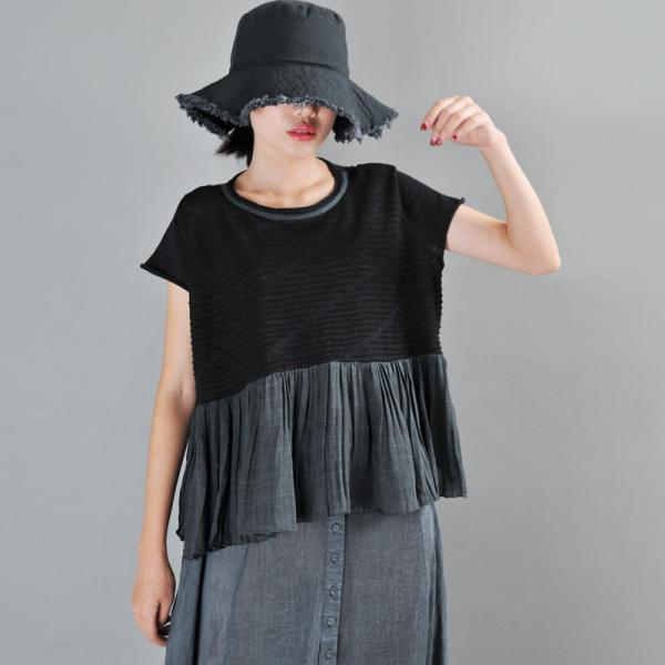 Contrasting Color Short Sleeve T-shirt Ruffled Oversized T-shirt for Women
