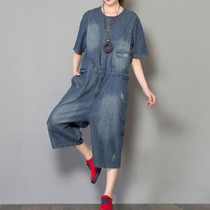 Korean Fashion Button Down Rompers Denim Baggy Dungarees for Woman
