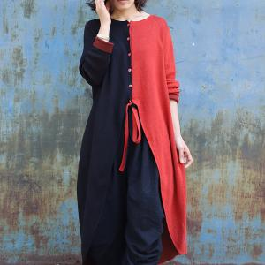 Red and Black Asymmetrical Long Tunic Cotton Linen Knitting Knee-Length Dress