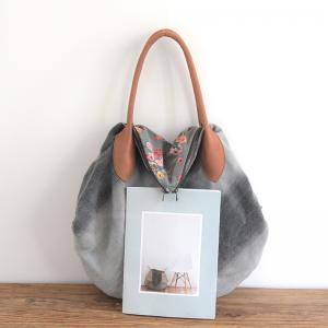 Japanese Style Floral Tote Cotton Linen Big Bag for Woman