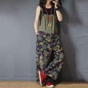 Tropical Printing Wide Leg Overalls Baggy Backless Womens Dungarees