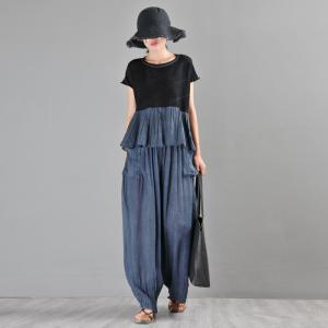Straight Pocket Blue Pants Comfy Loose Flowy Pants