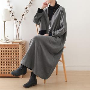 Puff Sleeve Plus Size Winter Dress Turtle Neck Gray Pregnancy Dress
