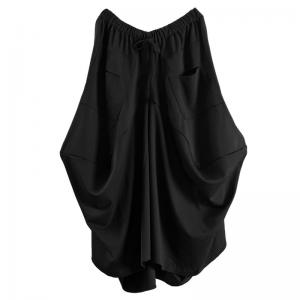 Straight Pocket Loose  Asymmetrical Draped Skirt Black Maxi A-Line Skirt