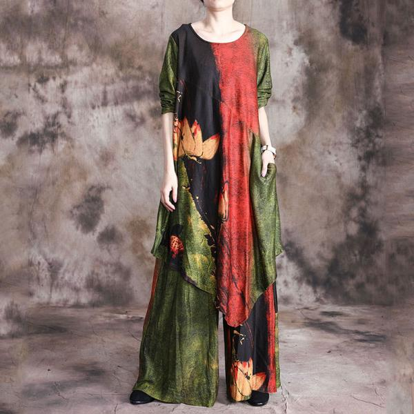 Asymmetrical Printed Long Tunic with Loose Palazzo Pants for Senior Women