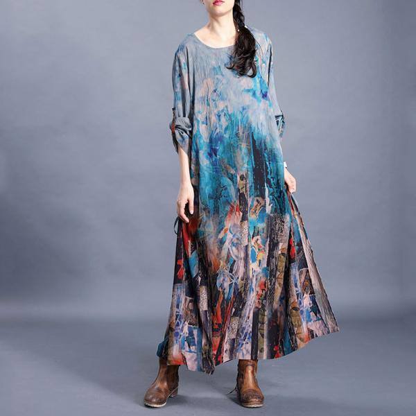 Senior Women Side Drawstring Shift Dress Baggy Blue Caftan