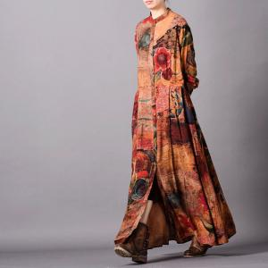 Single-Breasted Printed Maxi Dress  Empire Waist Silk Long Shirt Dress