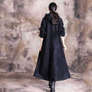 Contrast-Colored Pockets Plus Size Coat Wool Hoodie Tweed Coat