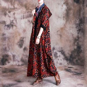 Paisley Printed Long Hooded Coat Vintage Flare Outerwear