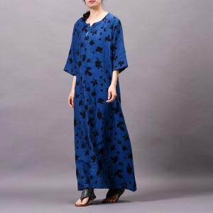 Abstract Printed Blue Shift Dress Loose Cotton Linen Embroidered Dress