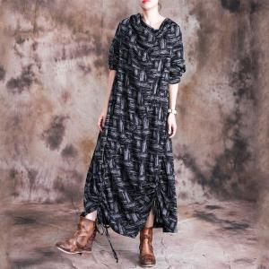 Mock Neck Pleated Casual Dress Cotton Loose Asymmetrical Dress