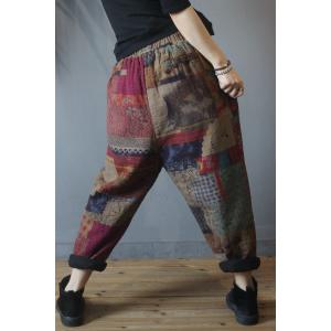Cotton Linen Printing Ethnic Pants Loose Quilted Trousers for Senior Women